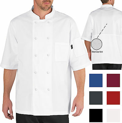 Chef Code Short Sleeve Cool Breeze Chef Coat With Mesh Vent Inlay CC105