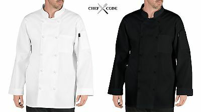 Chef Code Henri Chef Coat with Cloth Covered Buttons, Chef jacket CC110