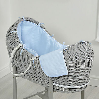 New 4Baby Blue Waffle Grey Wicker Baby Moses Basket / Snooze Pod & Mattress