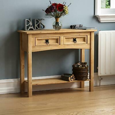 Corona Console Table 2 Drawer With Shelf Waxed Pine Hallway New By Home Discount