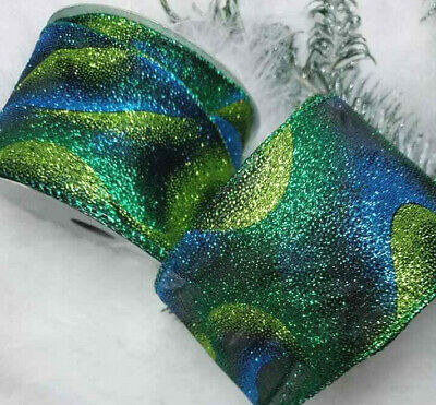 1m x 65mm LUXURY SPARKLY GLITTER WIRED CHRISTMAS RIBBON PEACOCK BLUE & GREEN