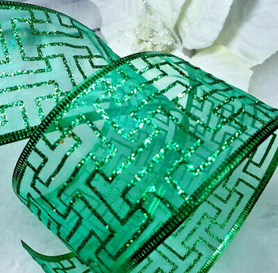 1m x 65m SPARKLY GLITTER WIRED RIBBON CHRISTMAS SHEER EMERALD GREEN KEY DESIGN