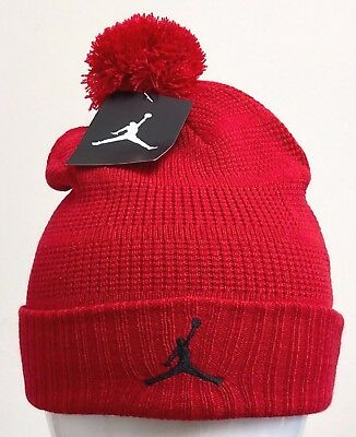 48957d8615d JORDAN POM BEANIE Gym Red Black -686932 687- -  29.99