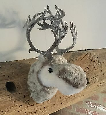 Small 27cm Tall Christmas Moose Head Hanging Wall Decoration Reindeer Bust