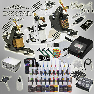 Complete Tattoo Kit Professional Inkstar 3 Machine APPRENTICE & CASE 40 Ink US