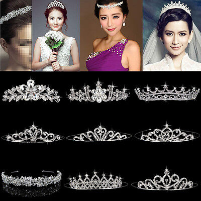 Bridal Pageant Rhinestone Crystal Prom Wedding Crown Tiara Headband Veil