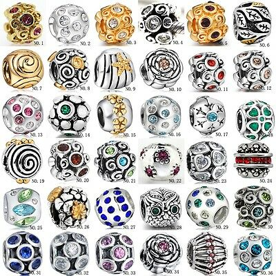 European Crystal Love Spacer Beads Charms For 925 Sterling Silver Bracelets Ring