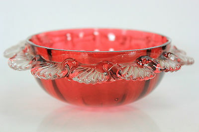 Antique Victorian Cranberry Glass Bowl C.1890