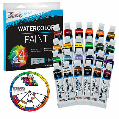 US Art Supply® 24 COlor 12ml Tube Artist Watercolor Paint Set Quick Drying