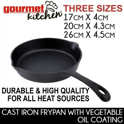 No-Stick Fry Pan Cookware Round Skillet Frypan Grill Cast Iron Camping BBQ 3SIZE