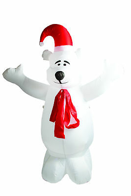 6ft Weather Resistant Christmas Inflatable Polar Bear With Coloured Light Effect