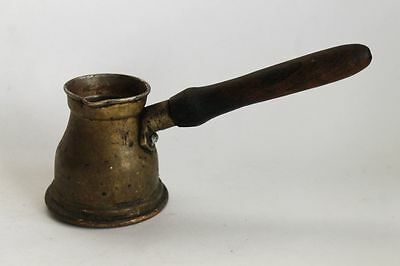 Antique Ottoman Copper Coffee Pot Wooden Handle 19 Century