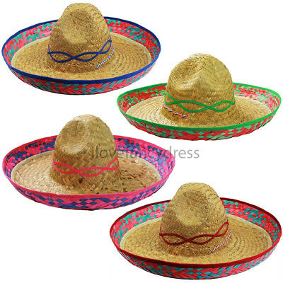 Mexican Sombrero Hat Wild Western Bandit Fancy Dress Costume Accessory 4 Colours