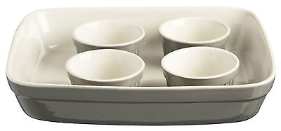 Mason Cash 5 Piece Baking Set Roaster Dish 4 Ramekins Grey Oven Dishes Bakeware