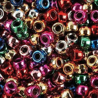 100 Metallic Mix Silver Gold Green Blue Red Pony Beads Loom Bands Dummy Clip