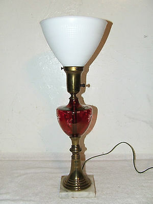 Antique Victorian Etched Cranberry Glass Font Table Lamp with Milk Glass Shade
