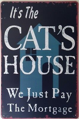Retro Metal Wall Sign Tin Plaque Vintage Shabby Chic Funny Cat House Sign Kitten