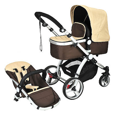 Coffee 2 in 1 Aluminium Baby Toddler Pram Stroller Jogger with Bassinet 4 Wheel
