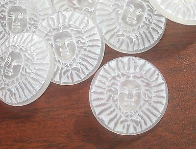 "High Relief MEDUSA Set 9 Frosted White Plastic Picture buttons 1 & 1/8"" large"