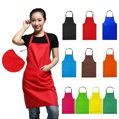 Plain Apron With Front Pocket For Chefs Butcher Kitchen Cooking Baking 10 colors