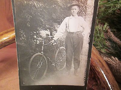 PHOTO-Man Standing With His New Bicycle-(Not a copy) Vintage