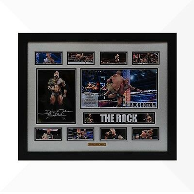 The Rock WWE Signed & Framed Memorabilia - Silver/Black Limited Edition