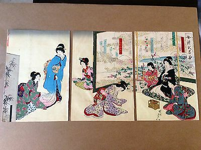 CHIKANOBU , Original Japanese Woodblock Print , Triptych , Ladies Customs