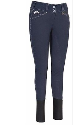 EQUINE COUTURE Blakely Full Seat Breeches Contrast Stitching Navy Size 28