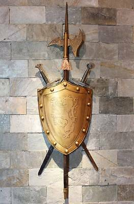 Medieval Knight Wall Decoration Shield with Two Swords and Battleax ALL metal