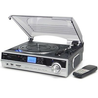 Steepletone ST929 PRO MP3/USB/SD 3 Speed Stereo Music Record Player in Silver