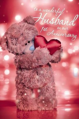 Me to You - 1st Anniversary Husband - 3D Holographic Card