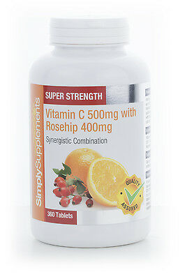 Simply Supplements Vitamin C 500mg and Rosehip 400mg 120 Tablets (E233)