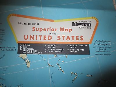 Vintage Hammond Superior Map of the United States