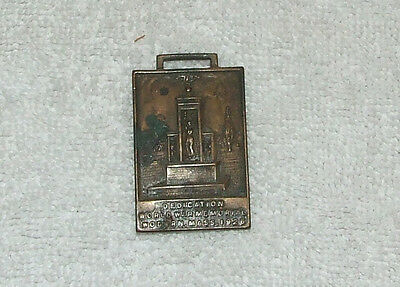 Vintage 1926 WWI Bronze Pocket Watch Fob; World War Memorial Woburn Mass. 1926