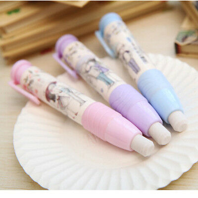 3 Colors Pen Shape Eraser Rubber Students Stationery School Home Kid Gift US69
