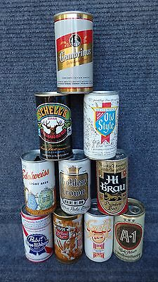 LOT OF 10 STEEL and ALUMINUM PULL TAB BEER CANS       {Lot2}