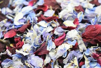 Natural Real Dried Petal Biodegradable Wedding Confetti Red & Blue 1 LitreThis l