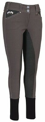 EQUINE COUTURE Blakely Full Seat Breeches Contrast Stitching Charcoal Size 30