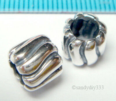 1x ANTIQUE STERLING SILVER WAVE ROUND TUBE BEAD for European Bracelet Charm J130
