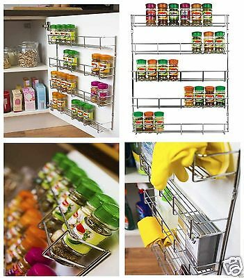 Chrome 3, 4, 5 Tier Spice / Herb Rack Wall Mountable or Kitchen Cupboard Storage