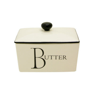 Fairmont & Main Script 500g Butter Spread Marg Dish Holder with Lid Cream Black