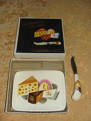 VINTAGE NAPCO GOURMET'S DELIGHT CHEESE SET TRAY & KNIFE GIFT BOX