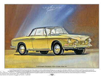 VOLKSWAGEN KARMANN GHIA COUPE (Type 34) - Fine Art Print - A3 size picture image