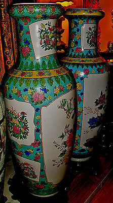 "Two Tall Gorgeous Chinese Porcelain Baluster Polychrome Vases , 42"" Ht."