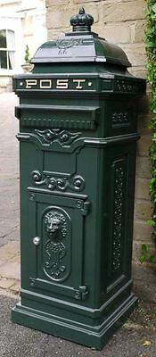 Post Box - Grand Pillar Freestanding Cast Aluminium Letter Mail Box In Green