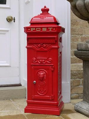 Post Box - Grand Pillar Freestanding Cast Aluminium Letter Mail Box In Red