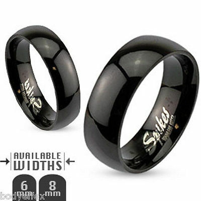Hot Mens Womens 316L Stainless Steel Polished Black Ip Dome Wedding Band Ring