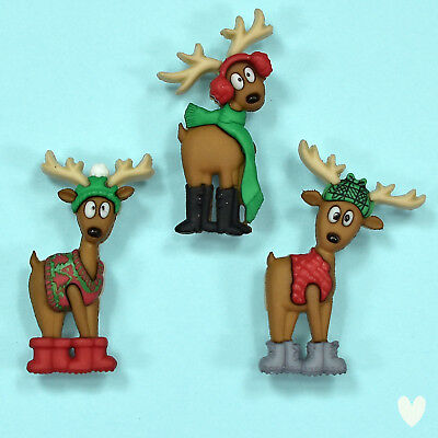 DRESS IT UP Buttons Where's The Sleigh 7492 - Reindeer - Xmas - Christmas
