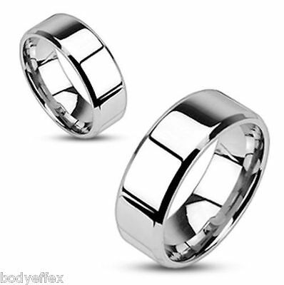 Perfect Mens Womens 316L Stainless Steel Silver Beveled Edge Wedding Band Ring