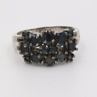 Sterling Silver Sz 8 Ring w/ Faux Black Amethyst Stones  Total weight 5.5 grams